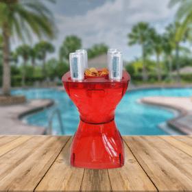 Mesa-banqueta multiuso vermelha na piscina