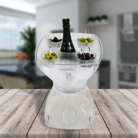 Mesa-banqueta multiuso com champanhe